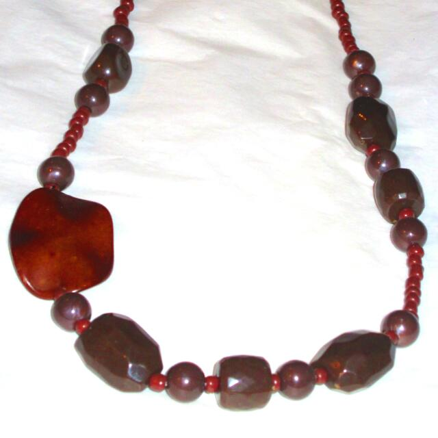 Vintage Coral Beads Tahitian Pearl Multi Bead Necklace