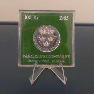 RARE 1985 100 KRONOR SWEDEN SILVER COIN