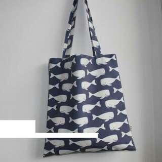 INSTOCK! Dark Blue Swimming Whales Tote Bag