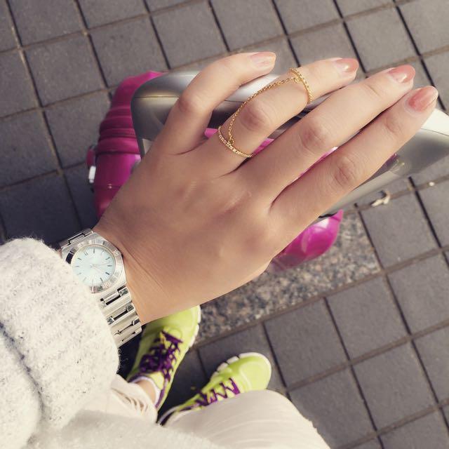 孔孝貞個性風 雙環戒指
