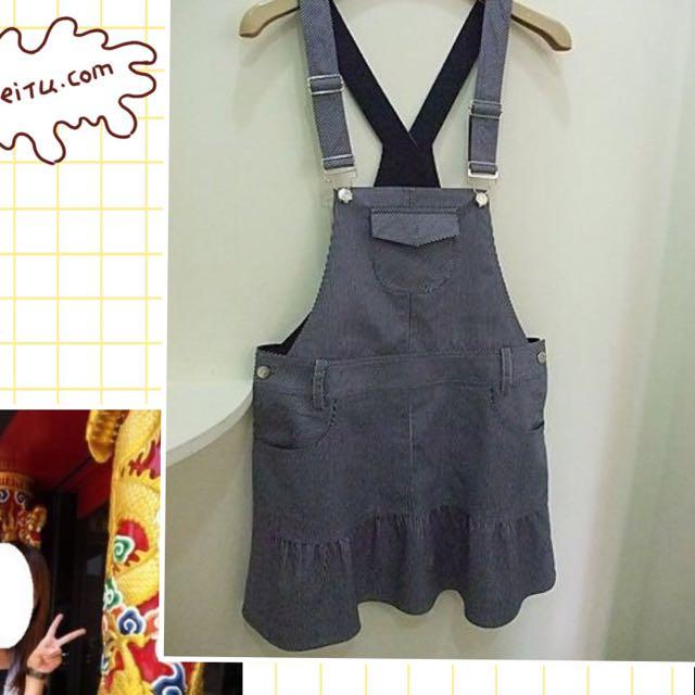 超低價割愛《MA TSU MI 藍色條紋 吊帶裙XL》肩帶可調長度