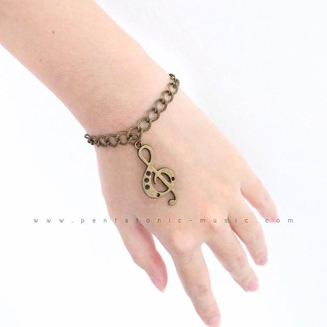 Music Bracelet Bronze - Treble Clef