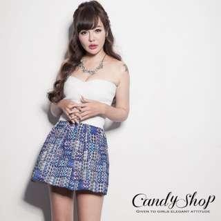 轉賣 CANDY小舖 素面拼接彩格圓裙繃帶平口洋裝(白色)