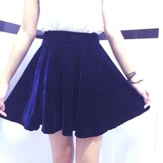 Navy Blue Velvet Skater Skirt