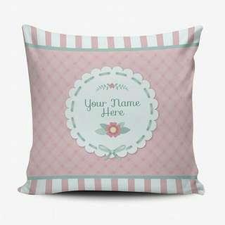 Bantal Custom Murah - Cushion Pillow Cover - Bisa Ganti Text - Shabby Chic Floral - Wedding Birthday Gift Hadiah Kado Ulang Tahun Wedding
