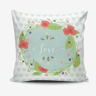Bantal Custom Murah - Cushion Pillow Cover - Bisa Ganti Text - Shabby Chic Floral - Wedding Birthday Gift Hadiah Ulang Tahun Wedding