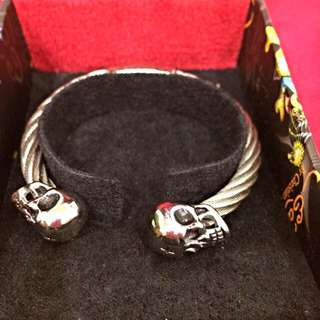 全新 Ed hardy 經典鋼質手環 正品