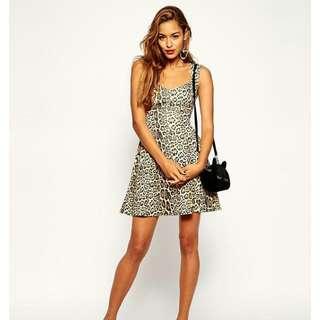 e63bf107e25 ASOS Skater Dress with Sweetheart Neck in Textured Animal Print - UK 18