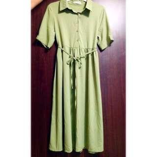 草綠色古著綁帶連身長洋裝/長裙