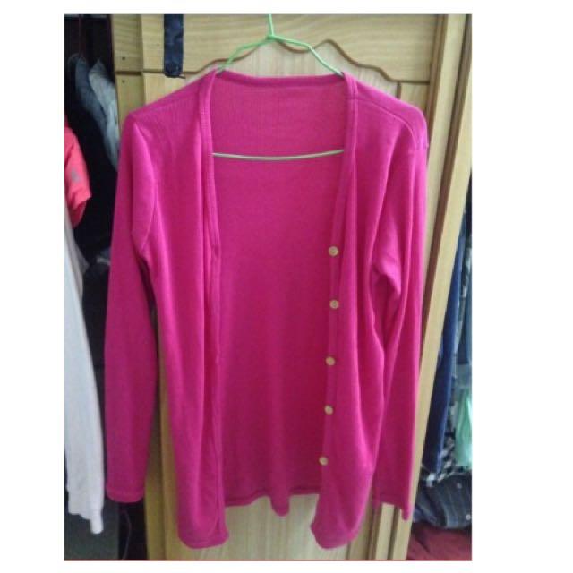 桃紅色針織外套 (二手)