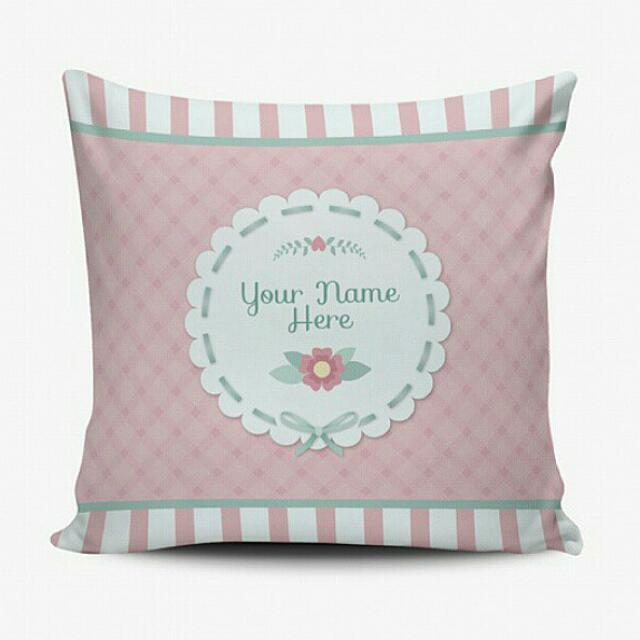 Bantal Custom Murah - Cushion Pillow Cover - Bisa Ganti Text - Shabby Chic Floral - Wedding Birthday Gift Hadiah Kado Ulang Tahun Wedding