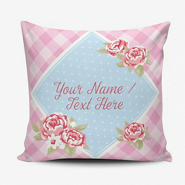 Bantal Custom Murah - Cushion Pillow Cover - Bisa Ganti Text - Shabby Chic Floral - Wedding Birthday Gift Hadiah Ulang Tahun Wedding
