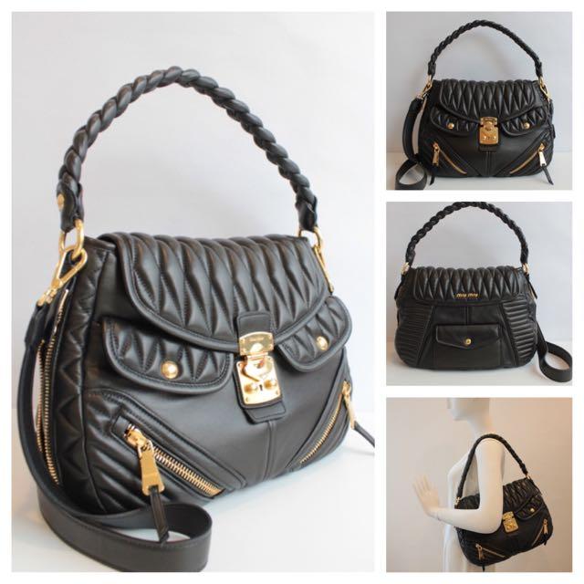 f6bad47b0f204 BN Authentic Miu Miu RR1889 Borsa Nappa Biker Leather Shoulder Bag ...
