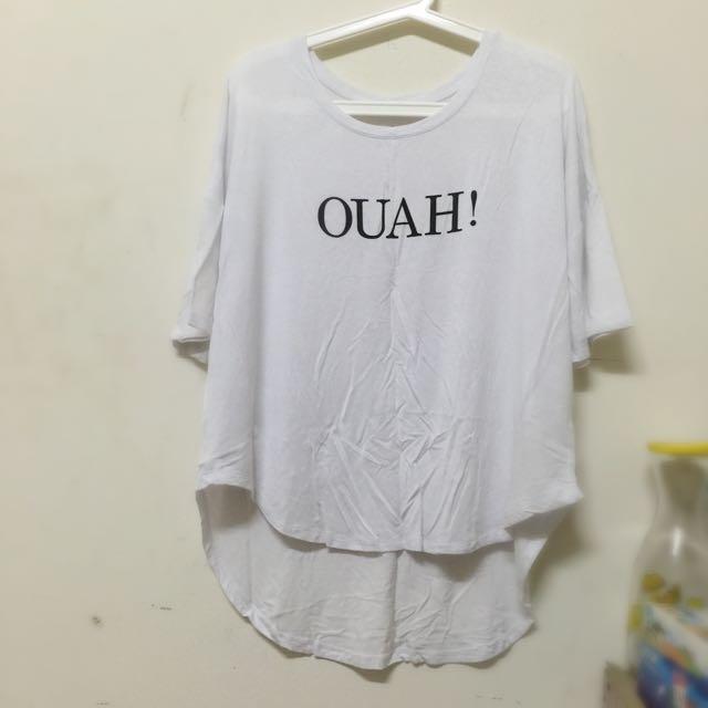 二手/OUAH白色長版舒適前短後長上衣