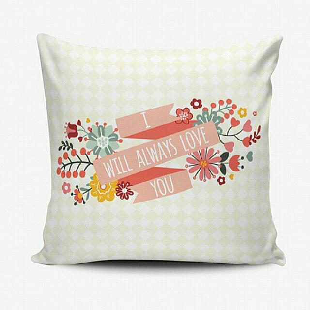 Romantic Pillow - Bantal Custom Murah - Cushion Pillow Cover - Bisa Ganti Text - Shabby Chic Floral - Wedding Birthday Gift Hadiah Ulang Tahun Wedding