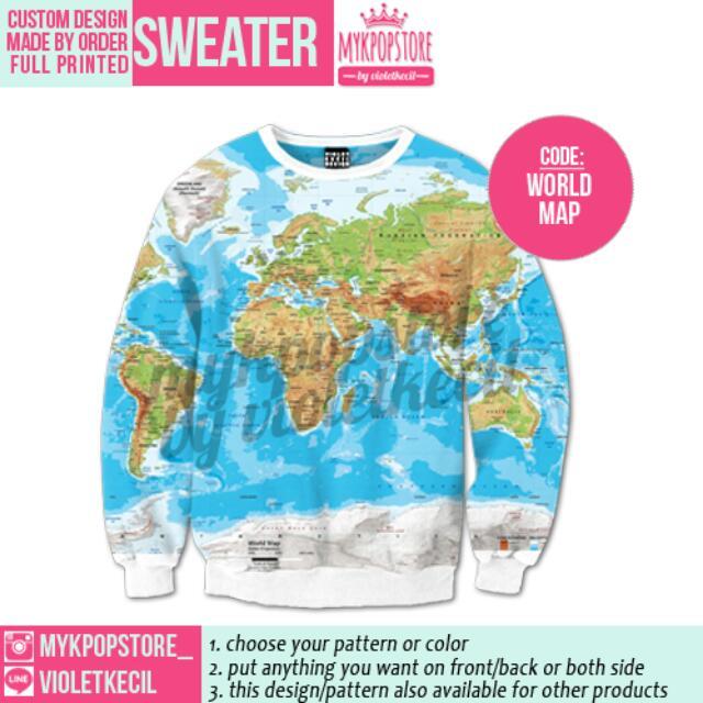 World Map Sweater.World Map Sweater Men S Fashion On Carousell