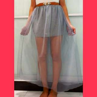 Translucent Net Grey Skirt