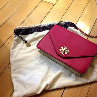Tory Burch Kira Bag 桃紅x 金信封包 真品 近全新