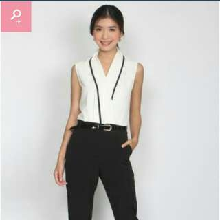 The Design Closet Contrast Tux Jumpsuit
