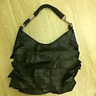 YSL 黑色真皮 月亮包 側背 手提 黑色時尚款