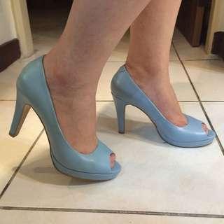 全新時尚魚口型粉藍高跟鞋24.5