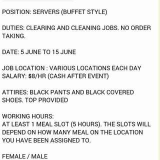Looking For Event Service Staffs