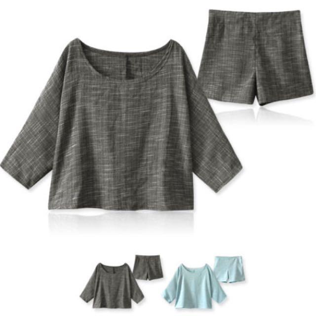 兩件式短版混合棉麻上衣+短褲