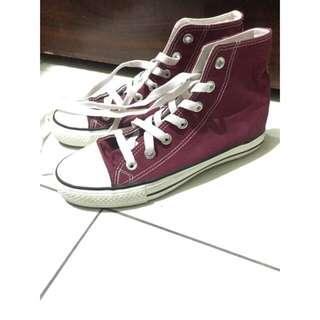 酒紅帆布鞋👟