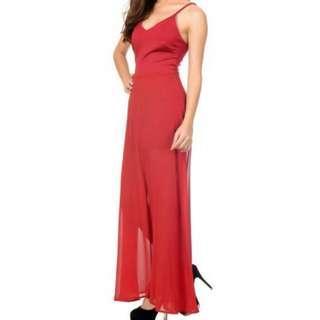 Wine Red Maxi Dress