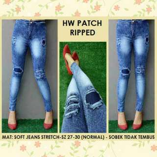 HIGHWAIST PATCH RIPPED JEANS