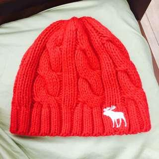 Abercrombie&Fitch 紅色毛線帽