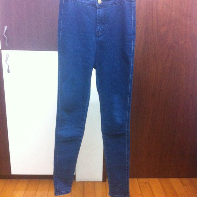AA原單高腰超彈力深藍牛仔褲