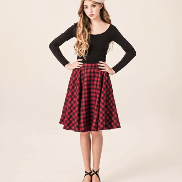保留中(含運)Pazzo 輕甜法式優雅女孩格紋中裙(尺寸M)