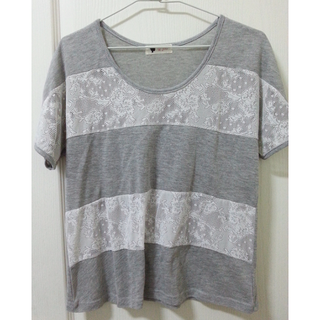 日系簡單風格 舒適棉質mix拼接蕾絲 條紋短袖上衣 棉T