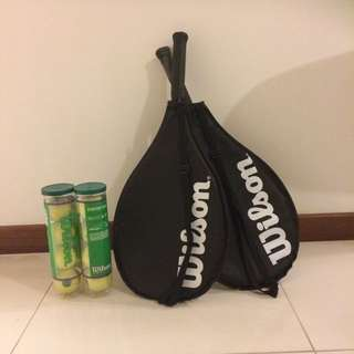 2 Wilson Tennis Rackets And 2 Sets of Balls (4 Each Set)