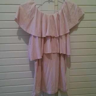 二手 可多種式穿法氣質粉色上衣/可斜肩 可露肩 可當小背心