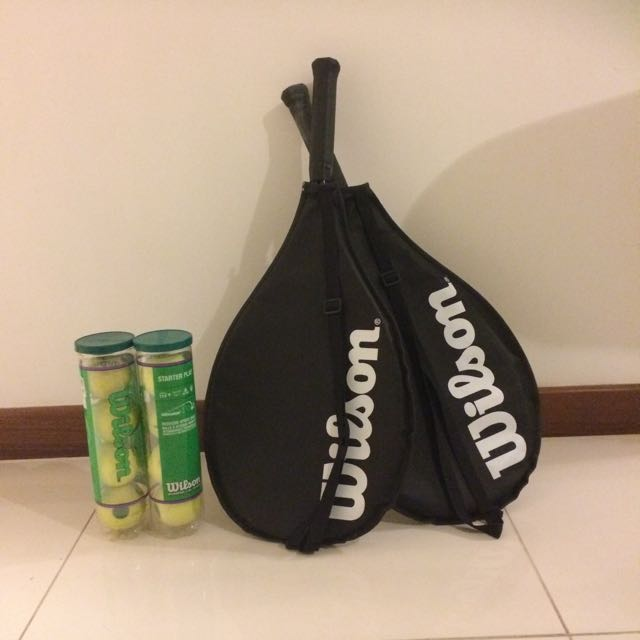 2 Wilson Tennis Rackets And 2 Sets of Balls (4 Each Set)