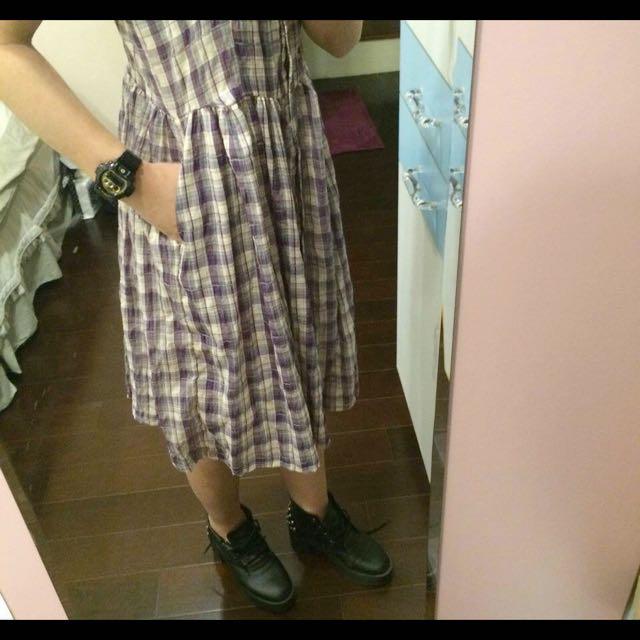 超可愛復古古著格子洋裝💕