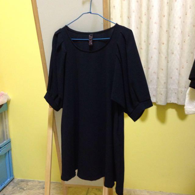 深藍色泡泡袖洋裝