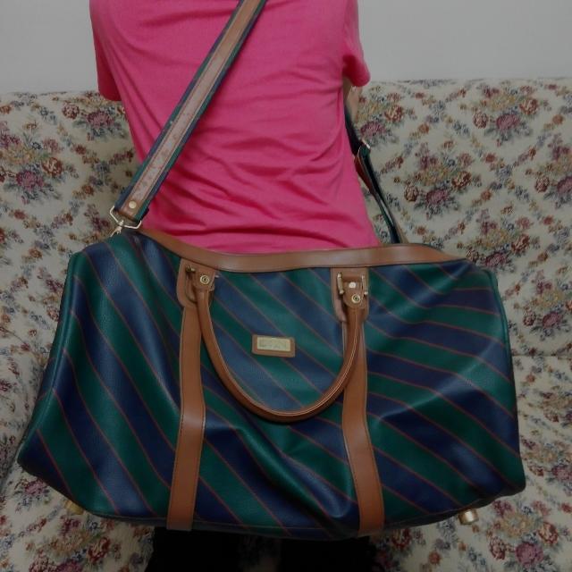 墨綠粗斜紋旅行手提背包