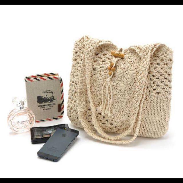 針織手拿包 香檳色文藝森林系 手提包