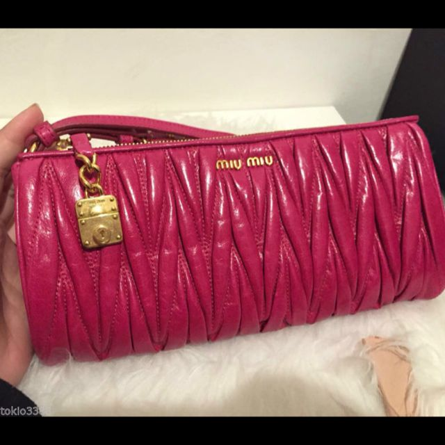 eaa5dd4ccd13 🎁MIU MIU by Prada Pink Matelasse Leather Wristlet Clutch Bag 100 ...