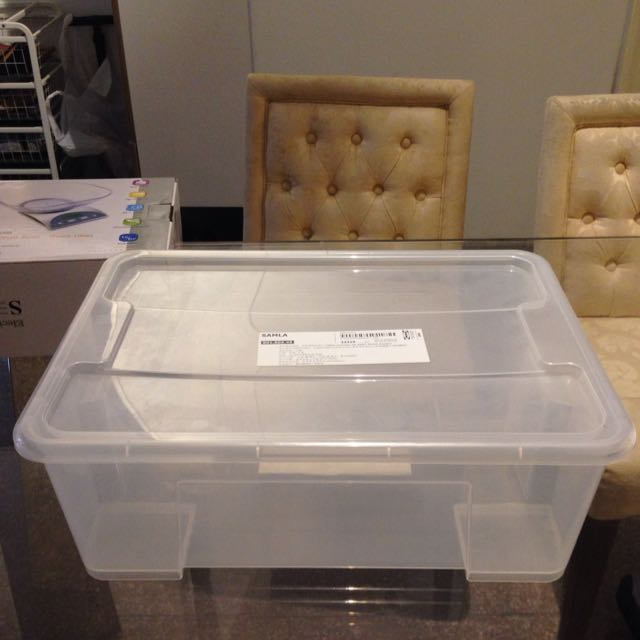 2 ikea samla transparent box with lid furniture on carousell. Black Bedroom Furniture Sets. Home Design Ideas