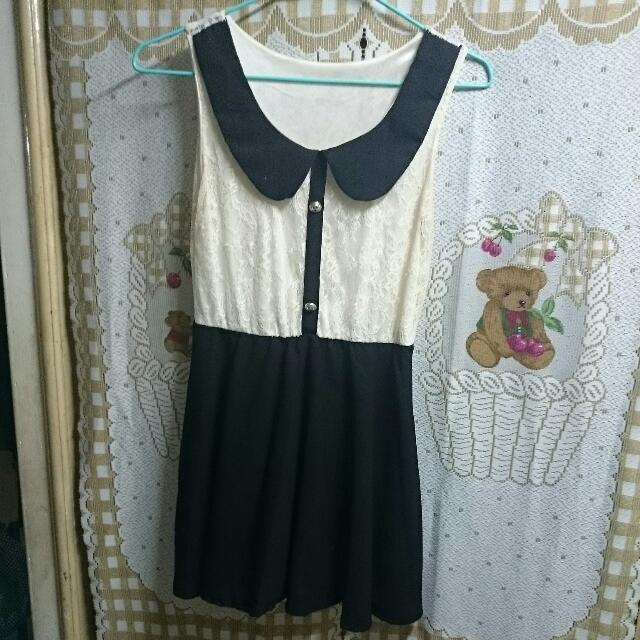 黑白蕾絲小洋裝