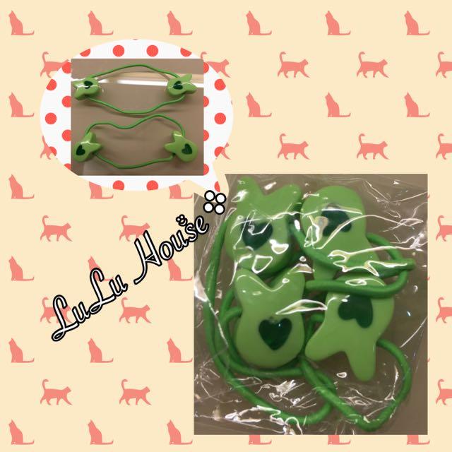 綠色兔子愛心髮圈