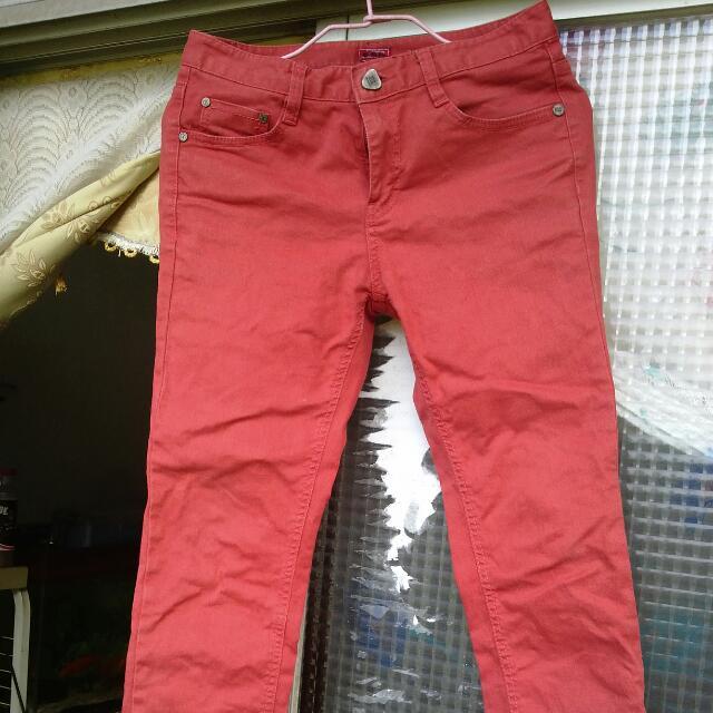 韓製窄褲 酒紅
