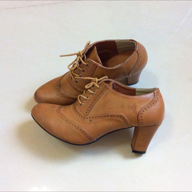 《全新》日系品牌ChiChi 焦糖牛津裸靴 38