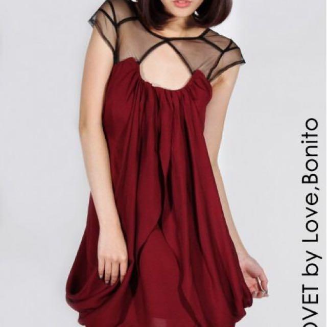 22b7cb244649 LoveBonito LB COVET Label Red Mesh Swirl Flowy Cocktail Dress ...