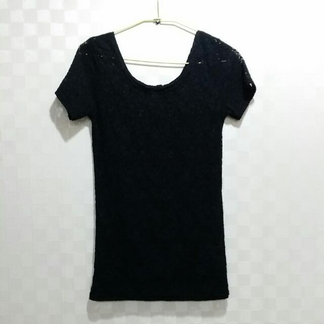 9.9成新黑色蕾絲上衣