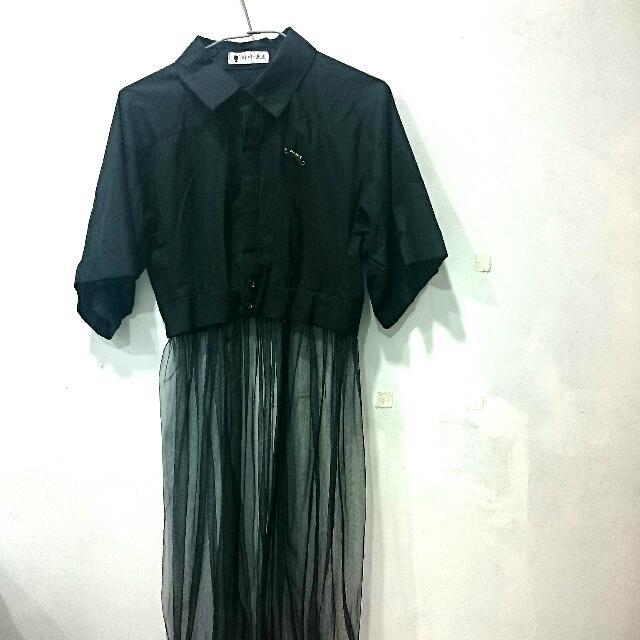 全黑 短版襯衫拼接紡紗裙(含運)